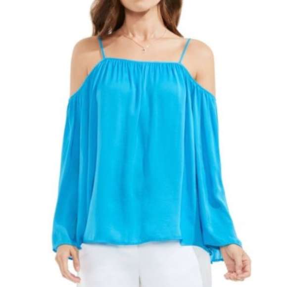 546a857393088 Vince Camuto Turquoise Boho Cold Shoulder Top